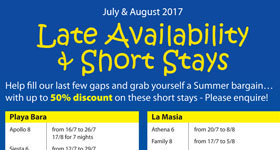 2017 July - Aug Late Deals & Short Stays